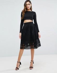 Короткая расклешенная юбка с сетчатым верхним слоем Forever Unique - Черный