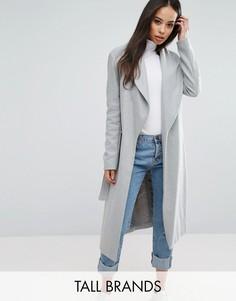 Пальто с запахом и поясом New Look Tall - Серый