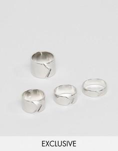 Набор из 4 разомкнутых колец DesignB London - Серебряный