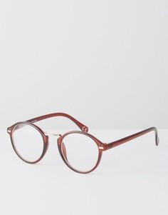 Круглые очки с прозрачными стеклами ASOS - Коричневый