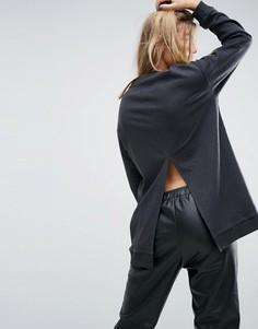 Длинный свитшот с разрезом сзади ASOS - Серый