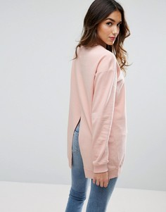 Длинный свитшот с разрезом сзади ASOS - Розовый