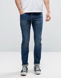 Синие выбеленные узкие джинсы стретч в спортивном стиле Only & Sons - Синий