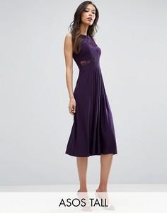 Плиссированное трикотажное платье миди с кружевом ASOS TALL WEDDING - Фиолетовый