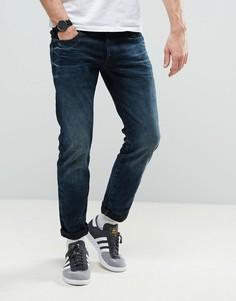 Темные узкие джинсы с потертостями G-Star 3301 - Синий