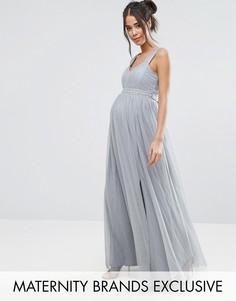 Платье макси с отделкой на талии Little Mistress Maternity - Серый