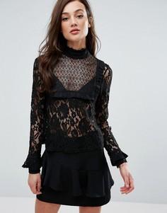 Кружевной топ Fashion Union - Черный