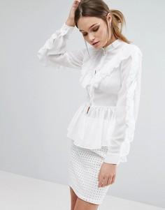 Блузка с длинными рукавами и оборками True Decadence - Белый
