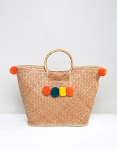 Соломенная сумка с помпонами Glamorous - Мульти