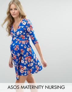 Синее платье с запахом и цветочным принтом ASOS Maternity NURSING - Мульти