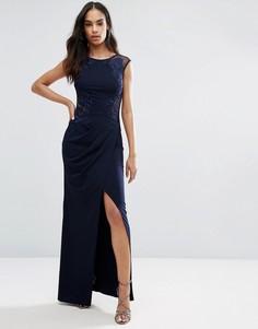 Драпированное платье макси с кружевом Michelle Keegan Loves Lipsy - Темно-синий