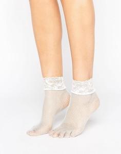 Белые носки в сетку с кружевной отделкой ASOS - Белый