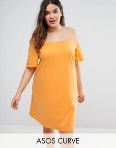 Платье с открытыми плечами ASOS CURVE - Оранжевый