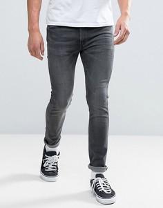 Черные потертые джинсы скинни Levis Line 8 - Черный