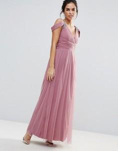 Платье макси с отделкой на плечах Little Mistress - Розовый