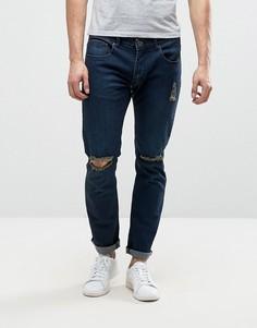 Темные узкие джинсы с рваными коленями Liquor & Poker - Темно-синий