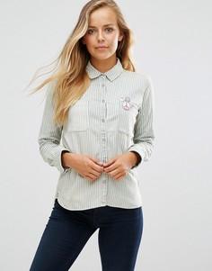 Рубашка в полоску с вышивкой Maison Scotch - Синий