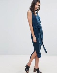 Платье с завязкой на талии и разрезами по бокам Unique 21 - Темно-синий