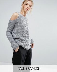 Джемпер крупной вязки с открытыми плечами Y.A.S Tall - Серый