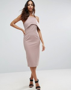 Платье-футляр миди из крепа на одно плечо ASOS - Красный