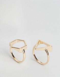 2 кольца с геометрической отделкой Nylon - Золотой