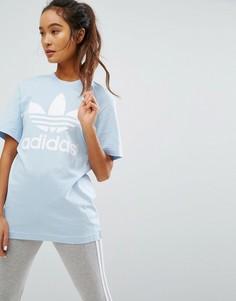 Голубая футболка бойфренда с логотипом adidas Originals - Синий