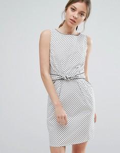 Платье в горошек с завязкой на поясе Trollied Dolly - Белый