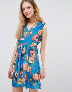 Платье с цветочным принтом и запахом Madam Rage - Синий