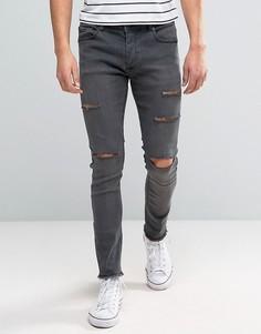 Рваные джинсы скинни Brave Soul - Серый