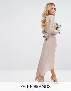 Кружевное платье миди с бантом сзади TFNC Petite Wedding - Розовый