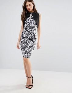 Платье-футляр с контрастными рукавами и цветочным принтом Vesper - Черный