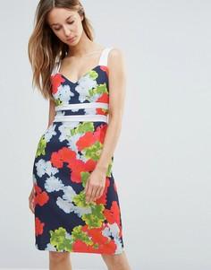 Платье-футляр с контрастными лямками и цветочным принтом Vesper - Мульти