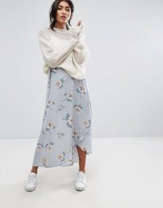 Юбка миди с запахом и винтажным цветочным принтом J.O.A - Мульти J.O.A.