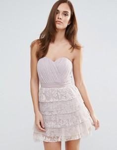 Кружевное платье-бандо мини для выпускного Little Mistress - Розовый