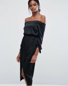 Платье миди с открытыми плечами и завязками на рукавах Lavish Alice - Черный