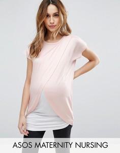 Футболка с запахом для кормящих мам ASOS Maternity - Розовый
