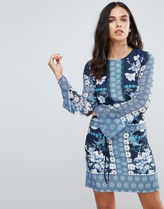 Цельнокройное платье с цветочным принтом Jessica Wright - Синий