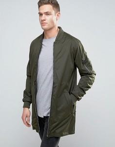 Длинная куртка со сборками и карманами Brave Soul - Зеленый