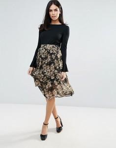 Плиссированная юбка с цветочным принтом Unique 21 - Мульти