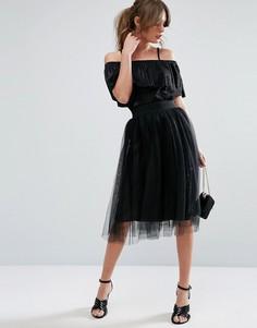 Тюлевая юбка миди New Look - Черный