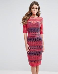 Кружевное платье миди Paperdolls - Красный