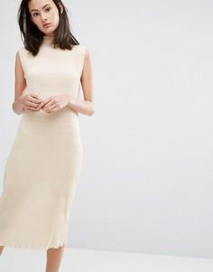 Плиссированное платье миди цвета слоновой кости Ganni Hall - Кремовый