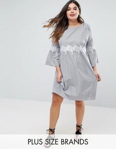 Свободное платье с отделкой кроше на талии Boohoo Plus - Синий