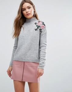Джемпер с цветочной вышивкой New Look - Серый