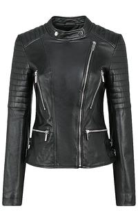 Кожаная куртка с декоративной отстрочкой La Reine Blanche
