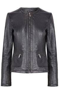 Кожаная куртка без воротника La Reine Blanche
