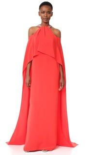 Драпированное вечернее платье с завязками уздечкой Monique Lhuillier