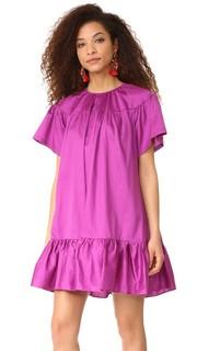 Элегантное платье с оборками из хлопка Cynthia Rowley