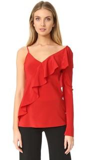 Асимметричная блуза с оборками на рукаве и спереди Diane von Furstenberg