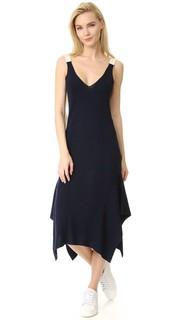 Платье без рукавов в рубчик с низким овальным вырезом сзади T by Alexander Wang